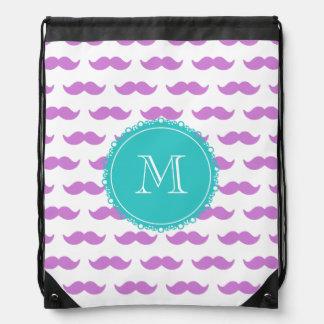 Lilac Mustache Pattern, Teal White Monogram Drawstring Bag