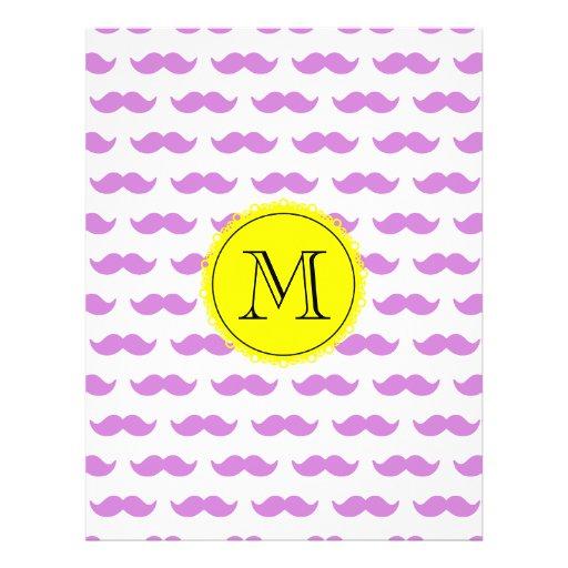 Lilac Mustache Pattern, Yellow Black Monogram Flyer