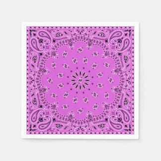 Lilac Orchid Pink Paisley Bandana Scarf BBQ Picnic Disposable Serviettes
