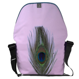 Lilac Peacock Feather on Lilac Courier Bag