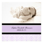 Lilac Photo Template New Baby Birth Announcement