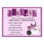 Lilac & Plum Purple Totally Retro Bowling Birthday Personalised Invitations