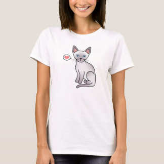 Lilac Point Siamese Breed Cat Cartoon Drawing T-Shirt