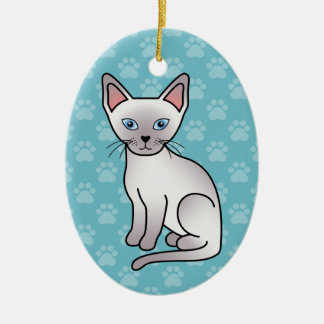 Lilac Point Siamese Cat Ceramic Oval Decoration