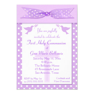 Lilac Polka Dot First Holy Communion Invitation
