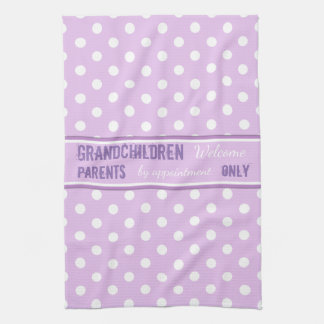 Lilac polka dots Kitchen Grandparents Tea Towel