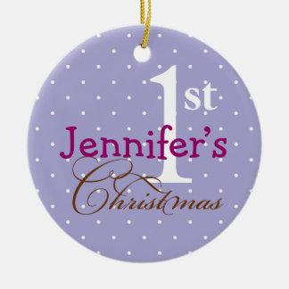 Lilac polka dots purple name baby first holiday christmas ornament