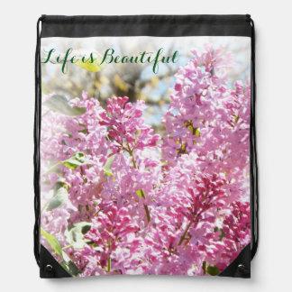 Lilac pull string pack rucksacks