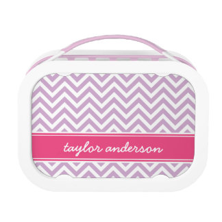 Lilac Purple and Pink Preppy Chevron Monogram Lunch Box