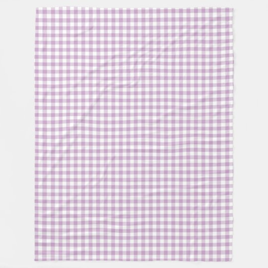 Lilac Purple and White Pastel Gingham Checks Fleece