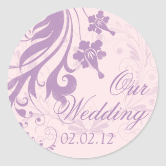 Lilac Purple Blush Floral Wedding Envelope Seal