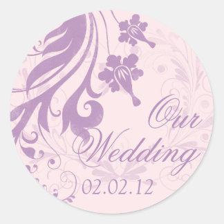 Lilac Purple Blush Floral Wedding Envelope Seal Round Sticker