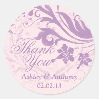 Lilac Purple Blush Floral Wedding Thank You Favor Classic Round Sticker