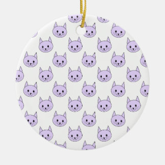 Lilac Purple cat pattern. Christmas Ornament