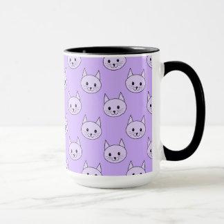 Lilac Purple cat pattern. Mug