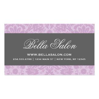 Lilac Purple Charcoal Elegant Vintage Damask Business Card Template