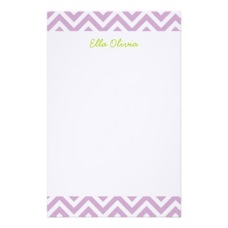 Lilac Purple Chevron Personalized Stationery