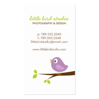 Lilac Purple Cute Bird on a Branch Business Cards