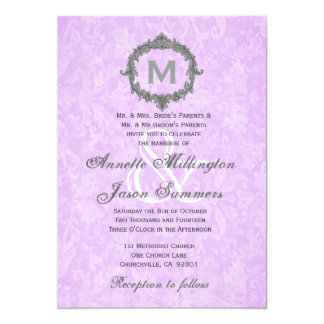 Lilac Purple Damask Gray Vintage  Monogram Wedding Custom Invitation
