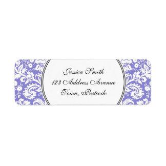 Lilac purple damask pattern return address label