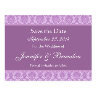 Lilac Purple Damask Save Date Postcard