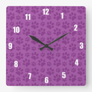 Lilac purple dog paw print pattern square wall clock