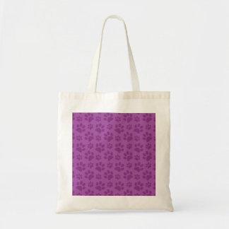Lilac purple dog paw print pattern budget tote bag