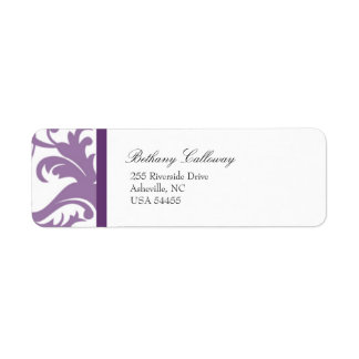 Lilac Purple Elegant Damask Return Address Label