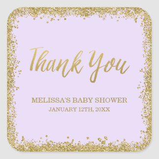 Lilac Purple Gold Glitter Baby Shower Thank You Square Sticker