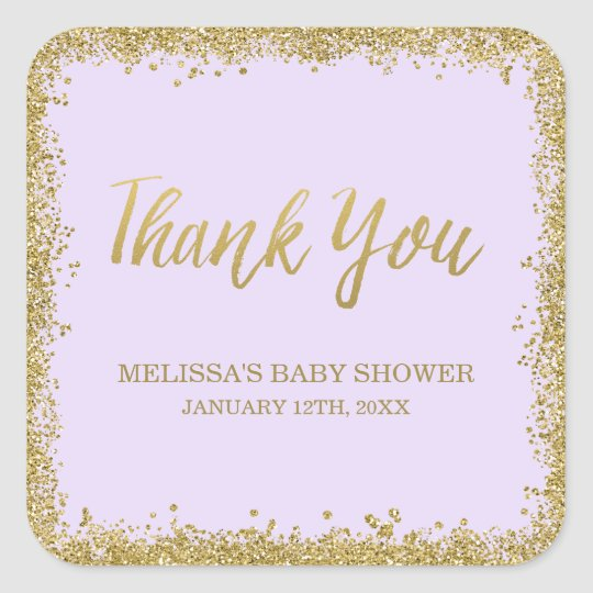 Lilac Purple Gold Glitter Baby Shower Thank You