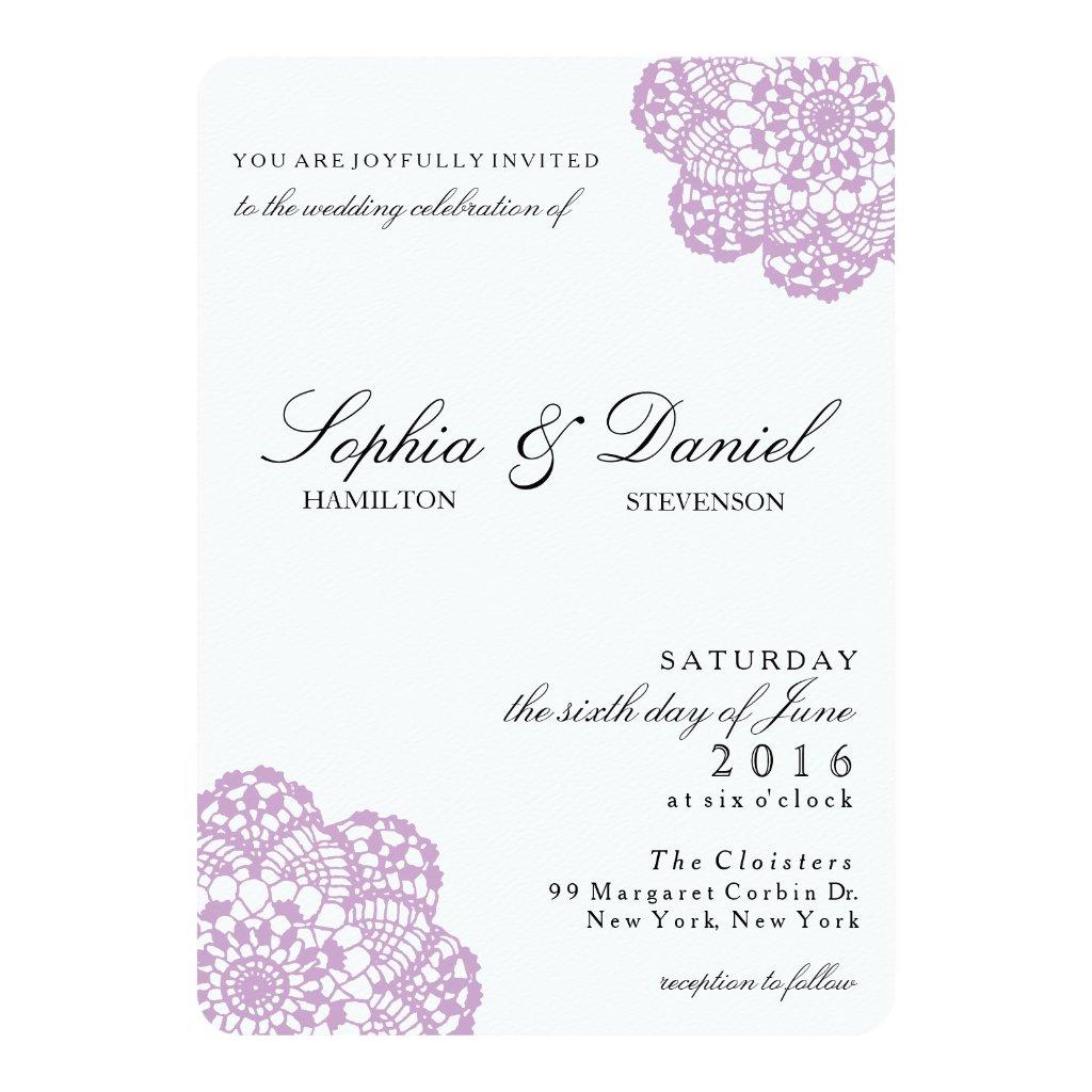 Lilac Purple Lace Doily Wedding Invitation