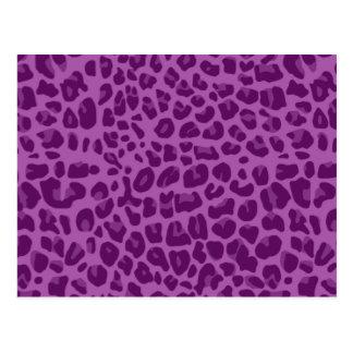 Lilac purple leopard print pattern postcard