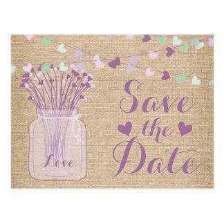 Lilac Purple Mason Jar Burlap Lace Save the Date Postcard