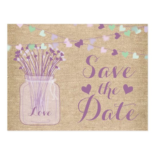 Lilac Purple Mason Jar Burlap Lace Save the