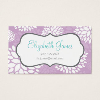 Lilac Purple Modern Flowers Business Card