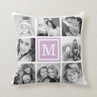 Lilac Purple Monogram Instagram Photo Collage Cushion