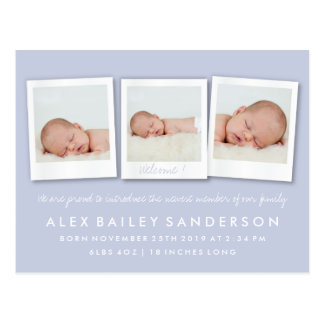 Lilac Purple New Baby Birth Announcement Photo Postcard