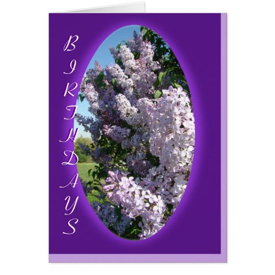 Lilac Purple Oval Birthday- customise any occasion Card