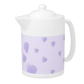 Lilac Purple Pattern of Love Hearts.