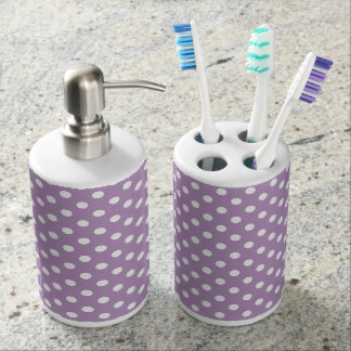 Lilac Purple Polka Dot Pattern Soap Dispenser And Toothbrush Holder