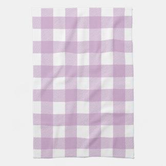 Lilac Purple Preppy Buffalo Check Plaid Tea Towel