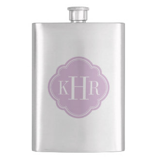 Lilac Purple Quatrefoil Custom Monogram Hip Flask