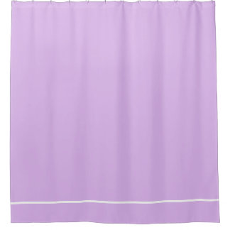 Lilac purple shower curtain with white line border