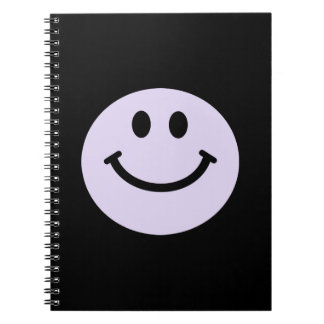 lilac purple smiley face notebook