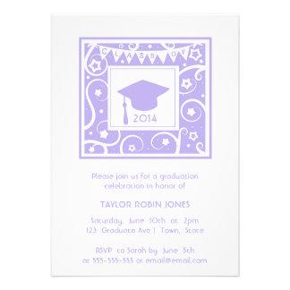 Lilac Purple Swirls Girly graduation invitation