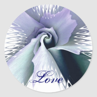 LILAC PURPLE & TEAL  Wedding Rose Butterfly - LOVE Round Sticker