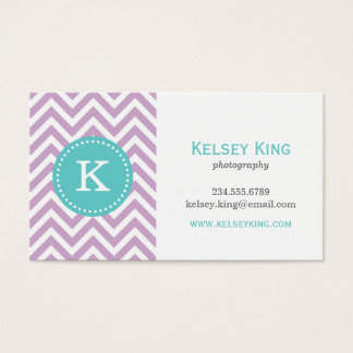 Lilac Purple & Turquoise Chevron Custom Monogram Business Card