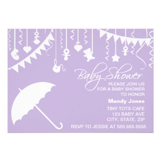 Lilac purple umbrella baby shower invitation