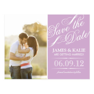 Lilac Purple Vintage Script Photo Save the Date Postcard