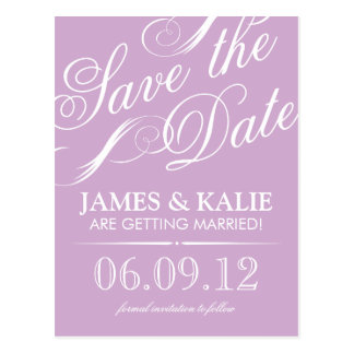 Lilac Purple Vintage Script Save the Date Postcard